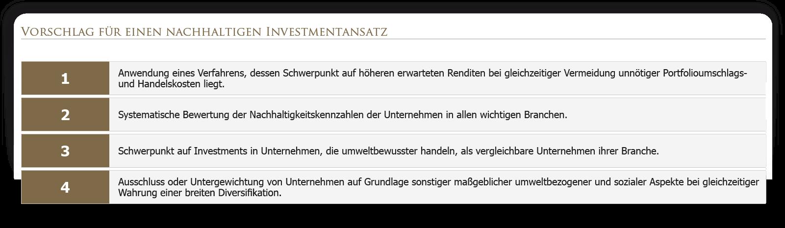 Vorschlag für einen nachhaltigen Investmentansatz